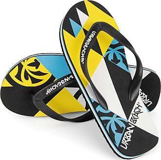 Urban Beach Mens Harlequin FW550 Beach Sandals Flip Flops Shoes (Size 7, Blue/Yellow)