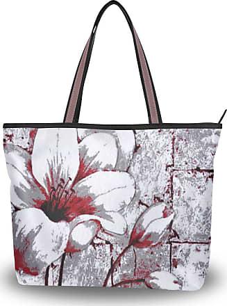 Lorona Women Grey Red Tulips Floral Canvas Shoulder Hand Bag Large Capacity Tote Bag