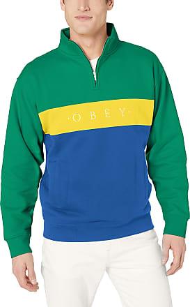 Obey Mens Chelsea Mock Neck Zip Fleece Pullover Sweater, Growth Green/Multi, Large