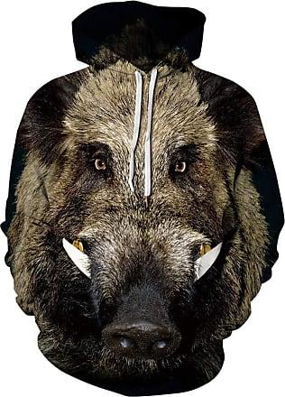 Ocean Plus Mens Hoodie 3D Hoodie Wolf Lion Print Hoodie Diverse Sweatshirt Fantasy Pullover (L/XL (Chest: 45-53 inches), Wild Boar)