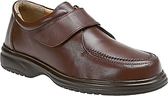 Roamers Mens Brown Leather E Fitting Touch Fastening Apron Leisure Shoe - Brown - size UK Mens Size 8