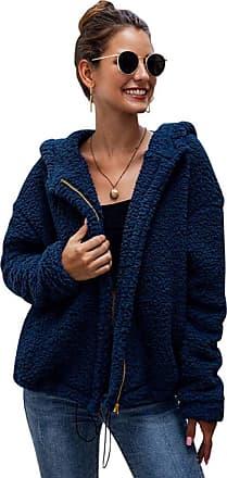 YYW Womens Soft Loose Teddy Fur Coat Sherpa Jacket Zip Hoodies Outwear with Pockets (Blue,M)
