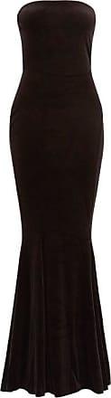 Norma Kamali Strapless Fishtail Velvet Dress - Womens - Black