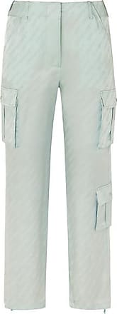 Off-white Satin-jacquard Straight-leg Pants - Mint
