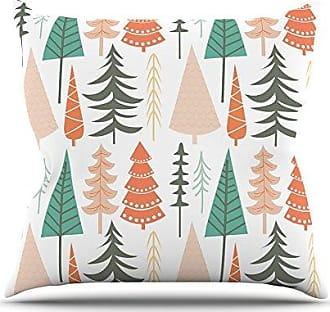 KESS InHouse Kess Original Happy Forest Orange Green Throw Pillow, 26 by 26-Inch