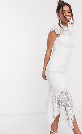 Forever New Kanten lange jurk met ongelijke zoom en strik op de achterkant in wit
