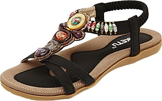 YOUJIA Womens Bohemia Breathable Wide Toe Strap Flat Sandals Black 8/8.5