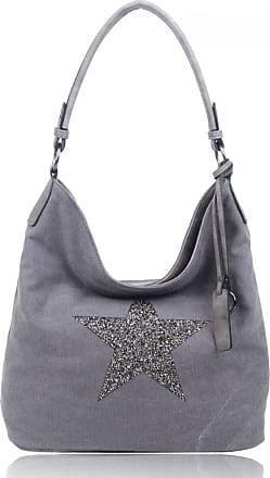 Craze London SALE SALE NEW Women Fashion Canvas Sparkling Star Tote/Shopper/Shoulder Handbag/Hobo Bag (Grey)