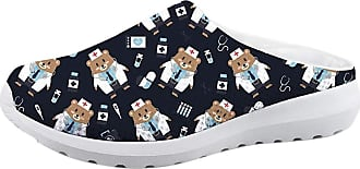 Coloranimal Lightweigh Women Slip On Sandals Cute Bear Puzzle Loafer US7