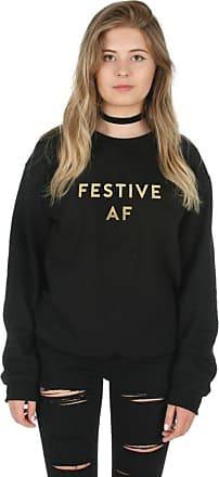 Sanfran Clothing Sanfran - Festive AF Gold Top Christmas Xmas Funny Gift Jumper Sweater - Double Extra Large/Black