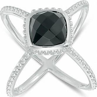 Zales 9.0mm Cushion-Cut Onyx Beaded Orbit Ring in Sterling Silver