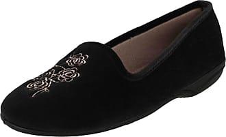 Spot On Ladies Slipper Shoes Flower Design 288999 - Black Textile - UK Size 7 - EU Size 40 - US Size 9