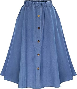 QIYUN.Z Womens Vintage A-line Printed Pleated Flared Midi Jeans Skirt Light Blue One Size