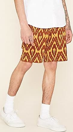 21 Men Ikat Print Shorts at Forever 21 Burgundy/mustard