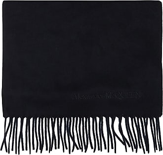 Alexander McQueen Scarf With Logo Mens Navy Blue