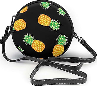 Turfed Fruite Style Print Round Crossbody Bags Women Shoulder Bag Adjustable PU Leather Chain Strap and Top Zipper Small Handbag Handle Tote