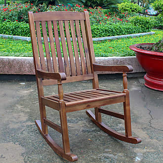 International Caravan Inc Highland Porch Rocking Chair (Wood/Acacia - Deep Seating/Rocking Chairs/Gliders)