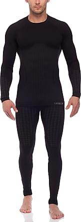 Ladeheid Mens Functional Underwear Long Johns and Long Sleeve Shirt Thermoactive 50u10u20 (Black, L/XL)