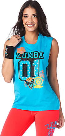Zumba Womens Graphic Design Loose Workout Muscle Tank Top X-Large/XX-Large Basic Blue
