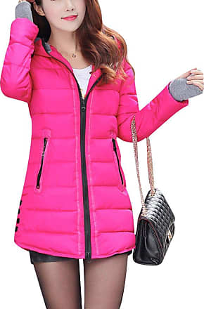 ZongSen Womens Long Down Coat Hooded Ultralight Packable Jacket Warm Coats Outwear Rose XL