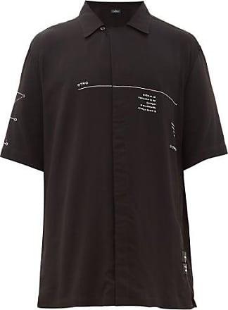 Marcelo Burlon Otro Mundo-print Cuban-collar Shirt - Mens - Black White