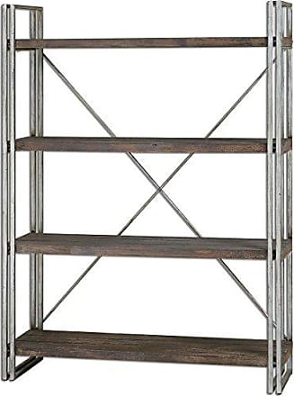 Uttermost 24396 Greeley Metal Etagere Shelf Unit, Silver and Brown