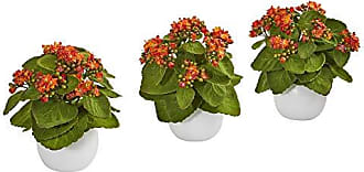 Nearly Natural 8628-S3-OG 8 Kalanchoe Artificial White Vase (Set of 3) Silk Plants Orange