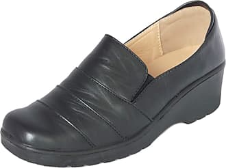Cushion-Walk Womens Ladies Lightweight Black Faux Leather Slip-on Low Wedge Shoes, Flats, Casual Work Office Comfort Shoes - Mat Black or Patent Black (3 UK, Black
