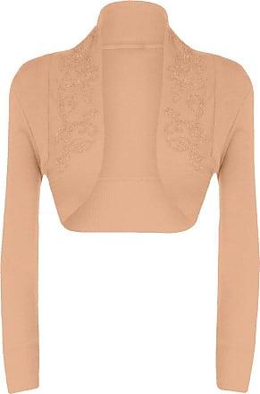 Islander Fashions Womens Long Sleeves Sequin Beaded Bolero Shrug Nude Small-Medim