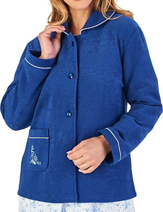 Slenderella Womens Button Up Bed Jacket Soft Boucle Fleece Embroidered Housecoat Medium (Navy)