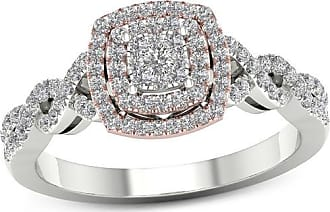 Zales 1/3 CT. T.w. Composite Diamond Double Cushion Frame Twist Engagement Ring in 14K Two-Tone Gold