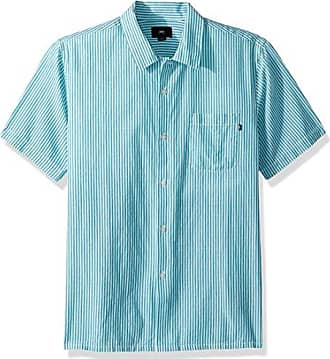 Obey Mens Avalon Short Sleeve Button UP Woven, Teal Multi, XL
