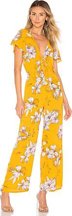 Superdown Cora Tie Front Jumpsuit in Yellow