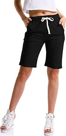 OCHENTA Womens Soft Knit Elastic Waist Jersey Shorts with Drawstring Black UK 22 - Tag 6XL