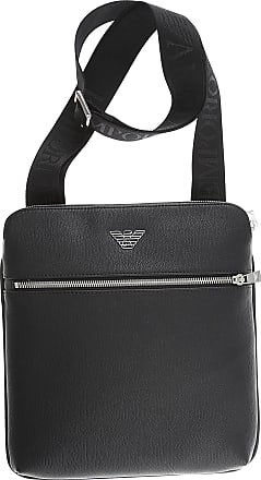 Emporio Armani Messenger Bag for Men On Sale, Black, Leather, 2017, one size