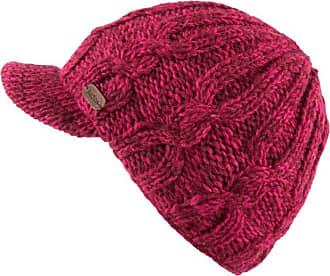 KuSan 100% Wool Cable Knit Brooklyn Peaked Cap PK1937 (Pink)