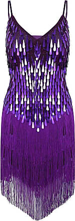 TiaoBug iixpin Womens Adjustable Strap Sparkling Sequin Fringe Tassel Rhythm Ballroom Salsa Samba Rumba Tango Latin Dance Party Dress Purple One_Size