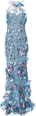 Marchesa embroidered floral-appliquéd gown - Blue
