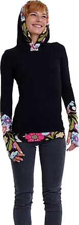3Elfen Hoodie Thumbhole Woman/Casual Long Sleeve Shirt/Hooded Pullover Sweatshirt Winter with Cuffs, Black Marvel Flower S