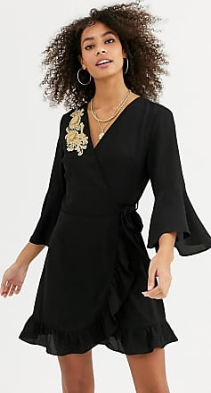 Urban Bliss nicole wrap dress with embroidered detail-Black