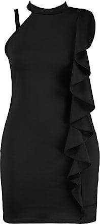 Parsa Fashions Womens Ladies Plus Sizes Poppy Ruffle Detail High Neck Body-con Dress (18, Black)