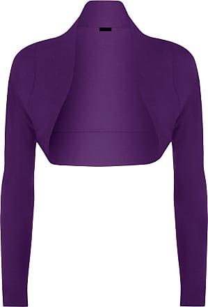 Momo & Ayat Fashions Ladies Long Sleeve Jersey Shrug Bolero Cardigan Top UK Size 8-14 (S/M (UK 8-10), Purple)