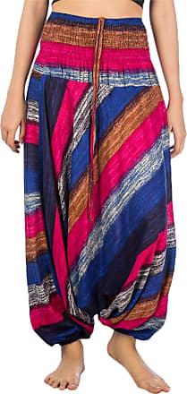 Lofbaz Womens Colourful Striped Harem 2 in 1 Jumpsuit Pants Pink Dark Blue S
