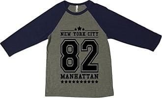 Bang Tidy Clothing Mens New York City NYC 82 Manhattan American Football Baseball Varsity Tri-Blend Athletic 3/4 Sleeve T Shirt from Bella+Canvas Grey & Navy M