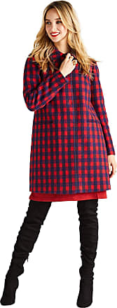Yumi Check Coat with Front Pockets Red