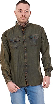 JD Williams Mens Regular Denim Shirt Cotton Enzyme Powder Wash Flap Pocket Casual Top M-XXL