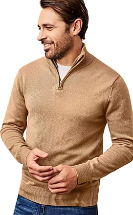WoolOvers Mens Cashmere Merino Long Sleeve Premium Fine Knit Zip Neck Pullover Knitted Sweater Jumper Camel, S