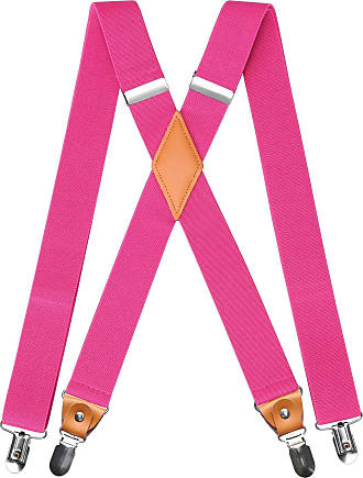 Hisdern Mens Braces with Very Strong 4 Clips Heavy Duty Suspenders X Style Pink Adjustable Suspender
