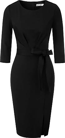 Grace Karin Women Autumn Winter Bodycon Dress Elegant 3/4 Sleeve Prom Work Office Dress with Belt Black XL