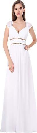 Ever-pretty Womens Elegant V Neck Empire Waist Floor Length A Line Long Chiffon Evening Party Dresses White 24UK
